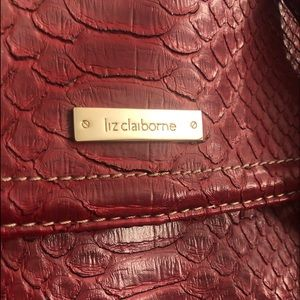 Liz Claiborne Red Faux Snakeskin Shoulder Purse M